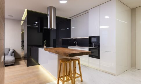 interior of kitchen with modern furniture and appliances